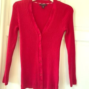 Lands' End Red Cardigan Sweater size S/P 6-8